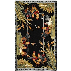 Safavieh Hand-hooked Roosters Black Wool Runner (2'6 x 4') - Thumbnail 0
