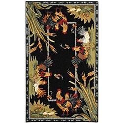 Safavieh Hand-hooked Roosters Black Wool Runner (2'6 x 4')