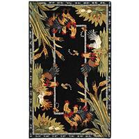 Safavieh Hand-hooked Roosters Black Wool Rug - 2'9 x 4'9