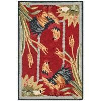 """Safavieh Hand-hooked Roosters Black Wool Rug - 2'-9"""" x 4'-9"""""""