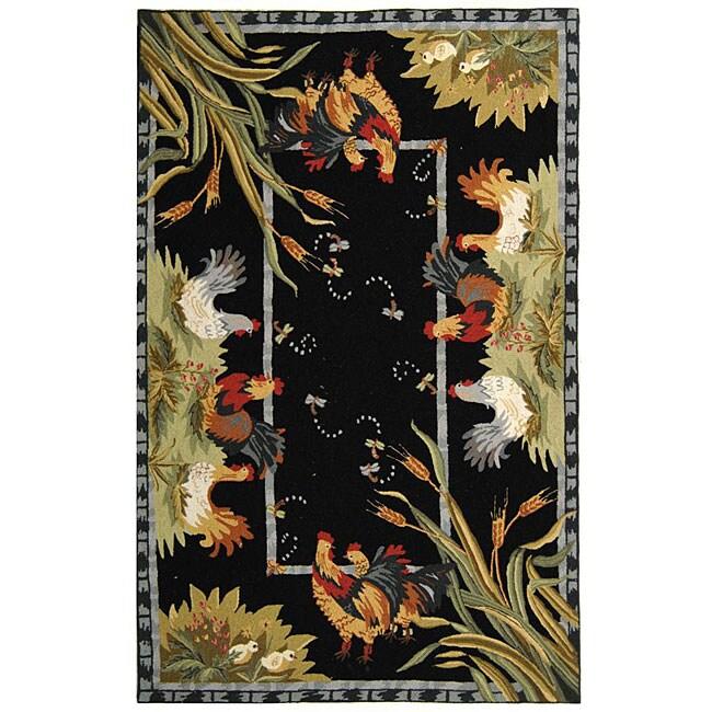 Safavieh Hand-hooked Roosters Black Wool Rug (3'9 x 5'9)