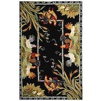 Safavieh Hand Hooked Rooster Garden Ivory Black Wool Rug