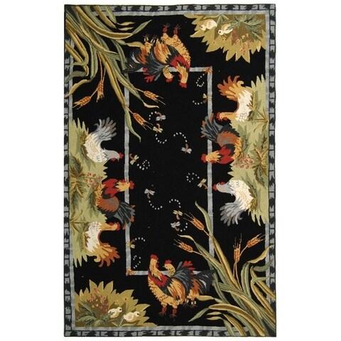 """Safavieh Hand-hooked Roosters Black Wool Rug - 3'9"""" x 5'9"""""""
