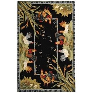"""Safavieh Hand-hooked Roosters Black Wool Rug - 3'-9"""" x 5'-9"""""""