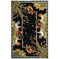 Safavieh Hand-hooked Roosters Black Wool Rug - 5'3 x 8'3