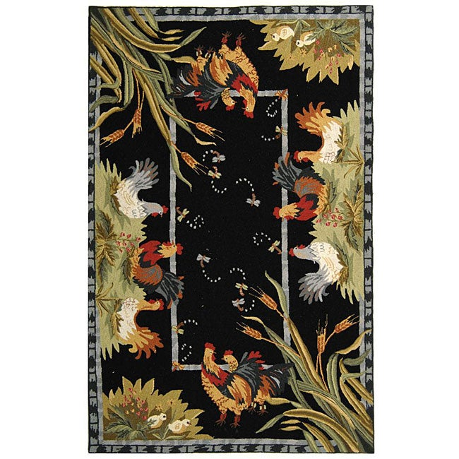 Safavieh Hand-hooked Roosters Black Wool Rug (6' x 9') - Thumbnail 0