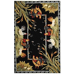 Safavieh Hand-hooked Roosters Black Wool Rug - 7'9 x 9'9 - Thumbnail 0