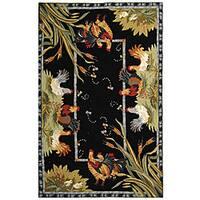 Safavieh Hand-hooked Roosters Black Wool Rug (7'9 x 9'9)