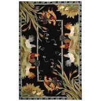 """Safavieh Hand-hooked Roosters Black Wool Rug - 7'9"""" x 9'9"""""""
