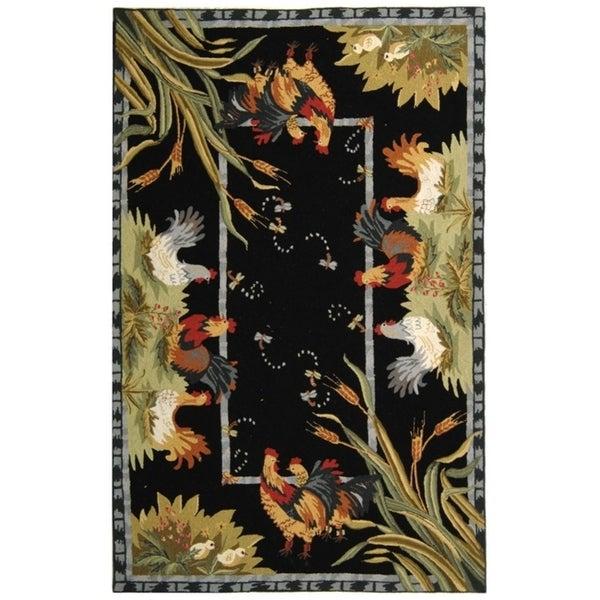 """Safavieh Hand-hooked Roosters Black Wool Rug - 7'-9"""" x 9'-9"""""""