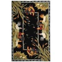 """Safavieh Hand-hooked Roosters Black Wool Rug - 8'-9"""" x 11'-9"""""""