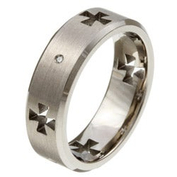 Titanium Men's Diamond Cross Cutout Band