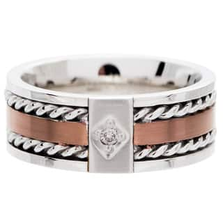 Two-tone Stainless Steel Men's Diamond Band|https://ak1.ostkcdn.com/images/products/4138567/P12141896.jpg?impolicy=medium