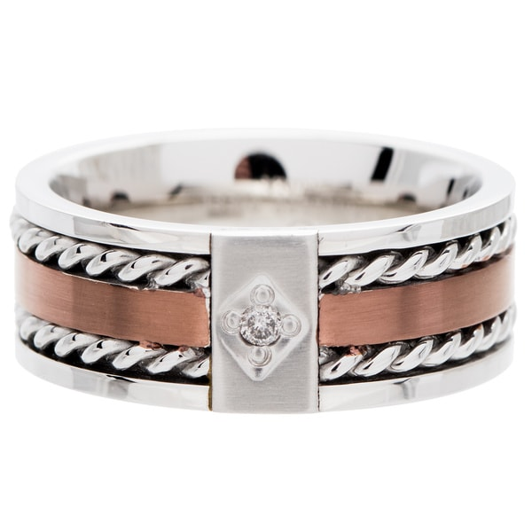 Two-tone Stainless Steel Men's Diamond Band