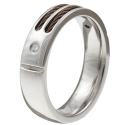Stainless Steel Men's Diamond and Brown Cable Band - Thumbnail 1