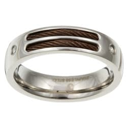 Stainless Steel Men's Diamond and Chocolate Cable Band