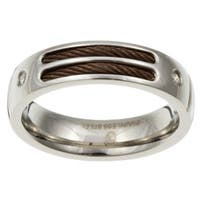 Stainless Steel Men's Diamond and Brown Cable Band