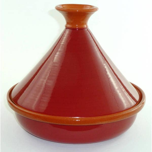 Handmade Clay Burgundy Red Tagine (Tunisia)