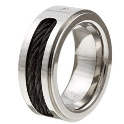 Titanium Men's Diamond and Black Cable Band - Thumbnail 1
