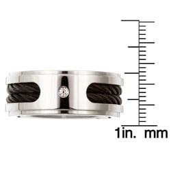 Titanium Men's Diamond and Black Cable Band - Thumbnail 2