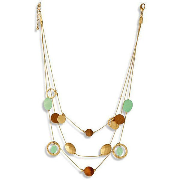 NEXTE Jewelry Goldtone Glass and Wood Bead Triple-strand Necklace