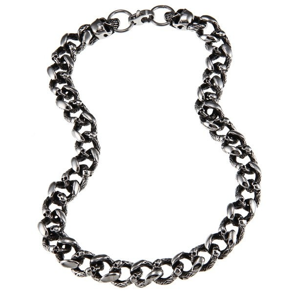 Stainless Steel Men's Skull Link Necklace