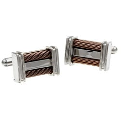 Stainless Steel Men's Brown Cable Inlay Cuff Links