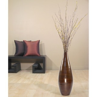 Brown Bamboo 24-inch Floor Vase and Forsythia