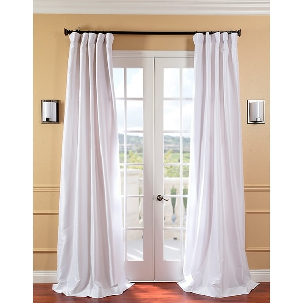 Exclusive Fabrics Signature White Faux Silk 96-inch Curtain Panel