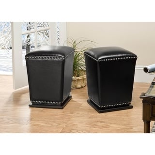 Safavieh Mason Storage Bicast Leather Black Ottomans (Set of 2)