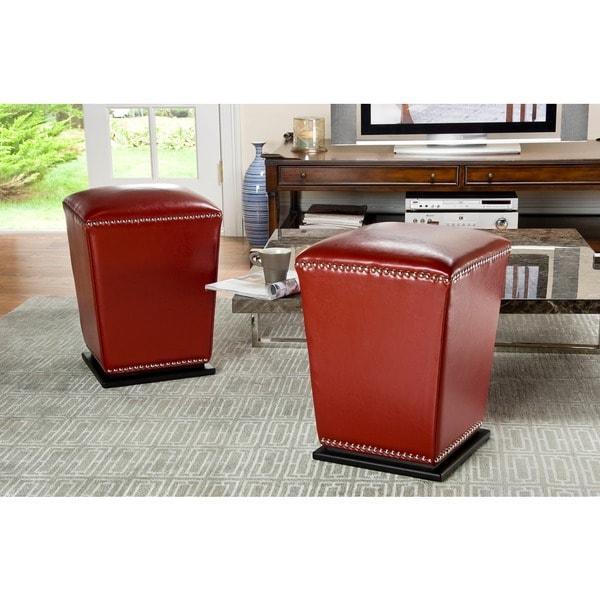 Safavieh Mason Bicast Leather Red Ottomans (Set of 2)
