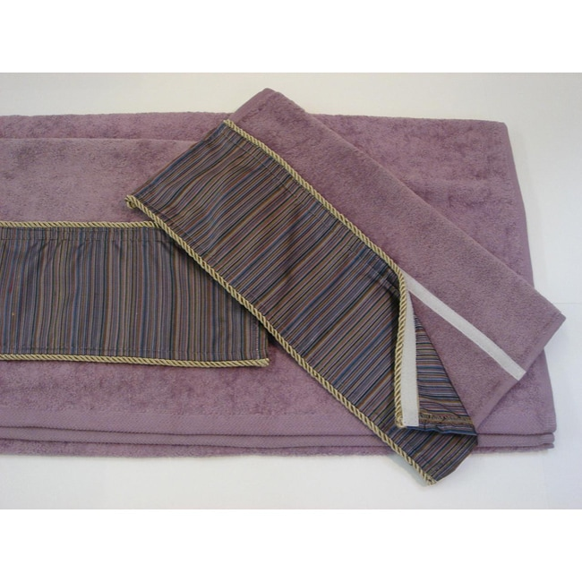 Sherry Kline Purple Stripe Hook and Loop Band 3-piece Towel Set - Thumbnail 0