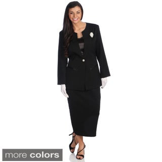 Divine Apparel Women's 3-piece Special Occasion Skirt Suit