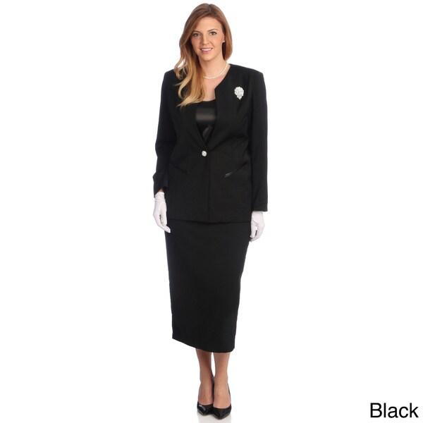 Divine Apparel Women's Plus-Size Three-Piece Polyester/Spandex Skirt Suit