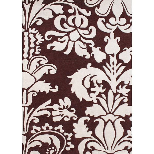 Hand-tufted Venice Leaves Reddish-brown Wool Rug (5' x 8') - 5' x 8'