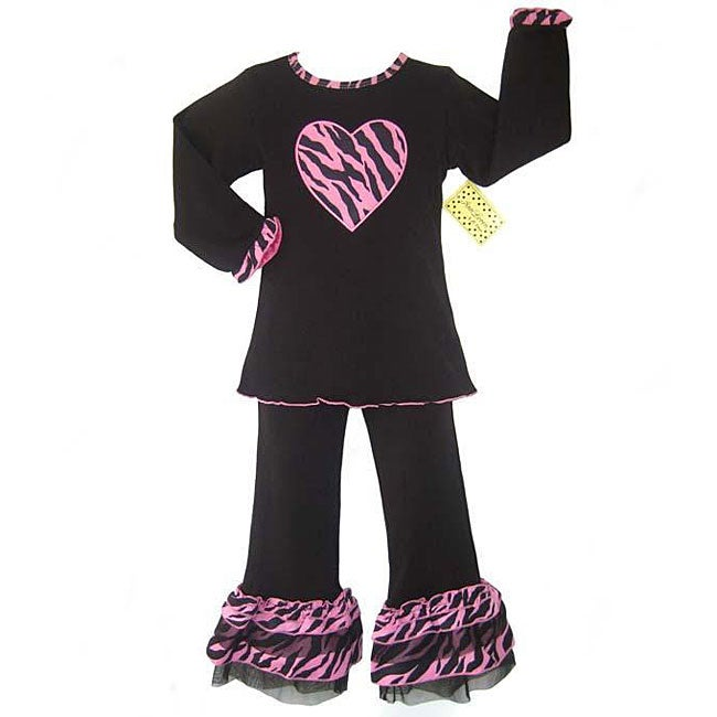 AnnLoren Boutique Girl's Black/ Pink Zebra Outfit