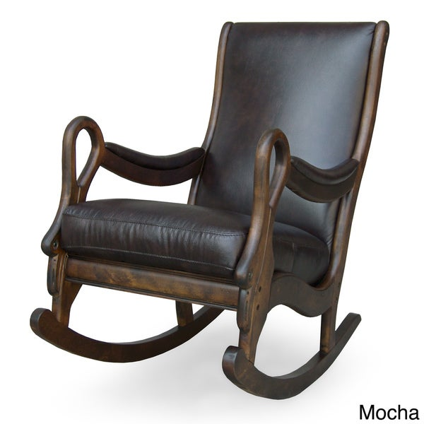 vintage leather rocking chair free shipping today 12146723. Black Bedroom Furniture Sets. Home Design Ideas