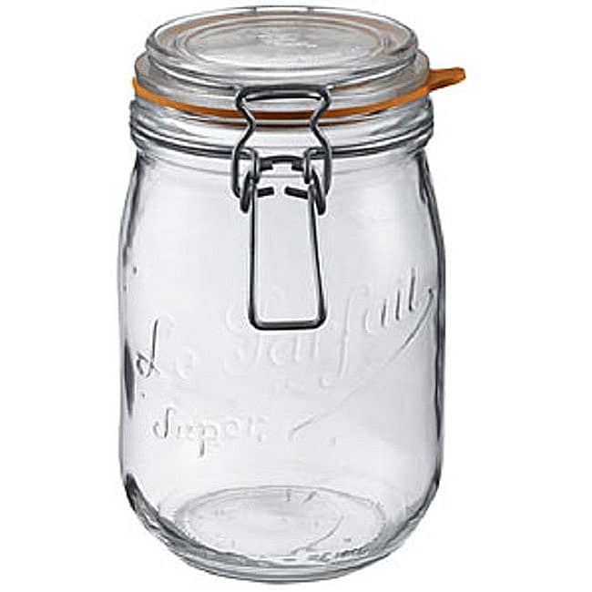 Le Parfait French Glass Complete 1 Liter Canning Jars (Set of 6)