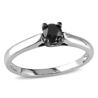 Miadora 10k White Gold 1/2ct TDW Black Diamond Solitaire Ring