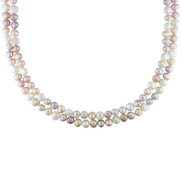 Miadora Multi-colored Cultured Freshwater Pearl 56-inch Necklace (7.5-8.5 mm)