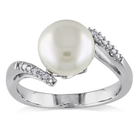 Miadora Sterling Silver Freshwater Pearl and Diamond Accent Ring (9-10 mm)