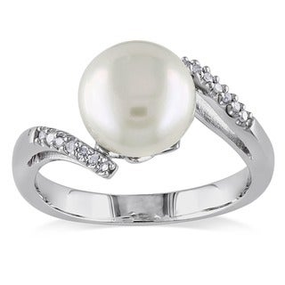 Miadora Sterling Silver Freshwater Pearl And Diamond Accent Ring 9 10 Mm