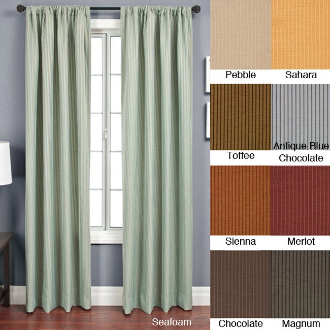 Softline Madrid Rod Pocket 84-Inch Striped-Jacquard Curtain Panel - Thumbnail 0