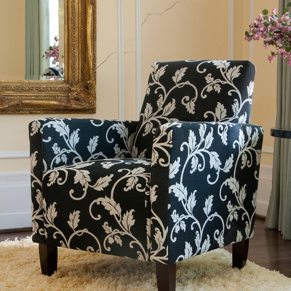 Handy Living Sutton Accent Arm Chair Charcoal Black and White Vine