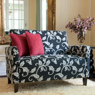 Handy Living Sutton Charcoal Black and White Vine Loveseat