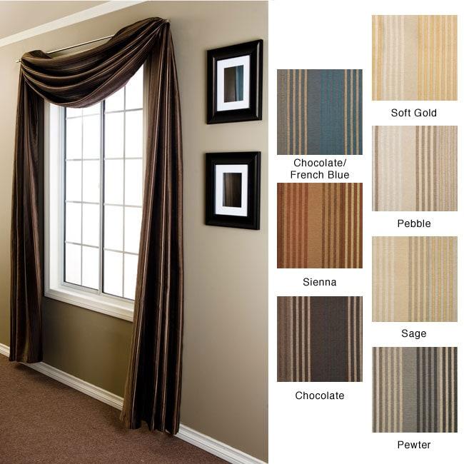 Jaipur Stripe 6-yard Window Scarf (All Polyester - Green)