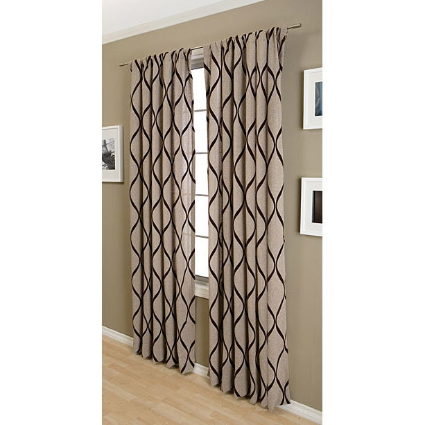 Softline Sahara Cotton-blend Rod Pocket 96-inch Curtain Panel (Latte w/ Chocolate)
