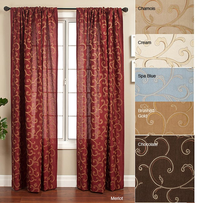 Softline Isis Scroll Rod Pocket 96-inch Curtain Panel - Thumbnail 0