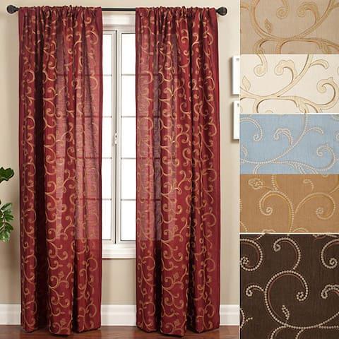 Softline Isis Scroll Rod Pocket 120-inch Curtain Panel - 55 x 120