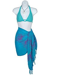 1 World Sarongs Women's Batik Butterfly Turquoise/ Purple Half Sarong (Indonesia)